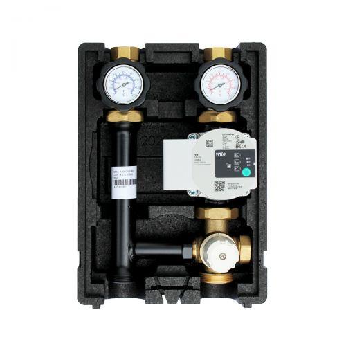 Heizkreispumpengruppe mit Drei-Wege-Mischer, Festwertthermostat 25-55°C und Wilo Para 25/6 Hocheffizienzpumpe