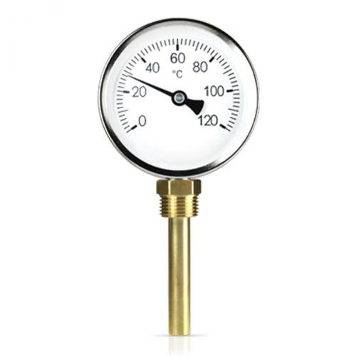 """Bimetall-Einschraubthermometer mit Messing Tauchhülse G1/2"""" - Anschluss Senkrecht"""