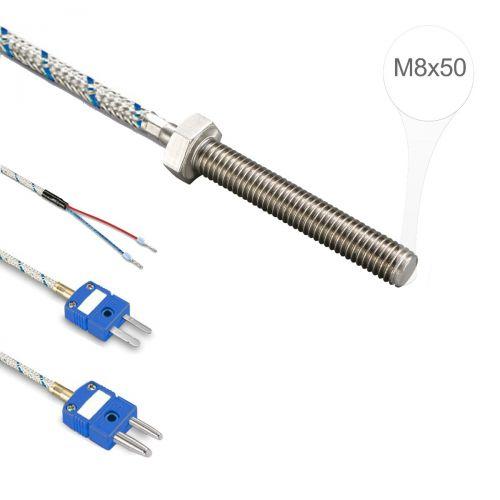 Einschraubtemperaturfühler mit M8x50 Gewinde mit FeCu-Ni Typ L