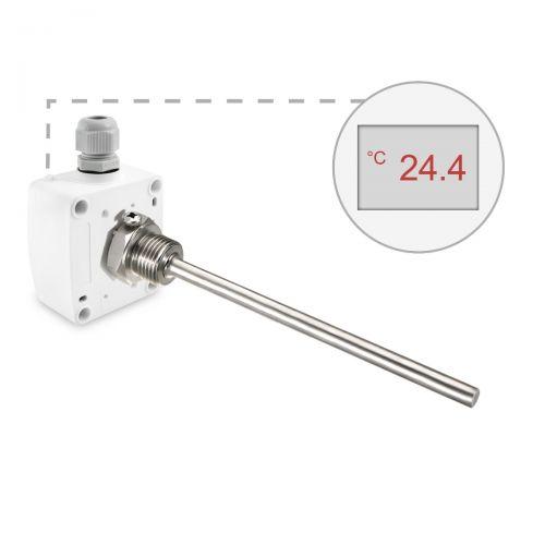 Einschraubtemperaturfühler mit Edelstahltauchhülse |0-10V/4-20mA