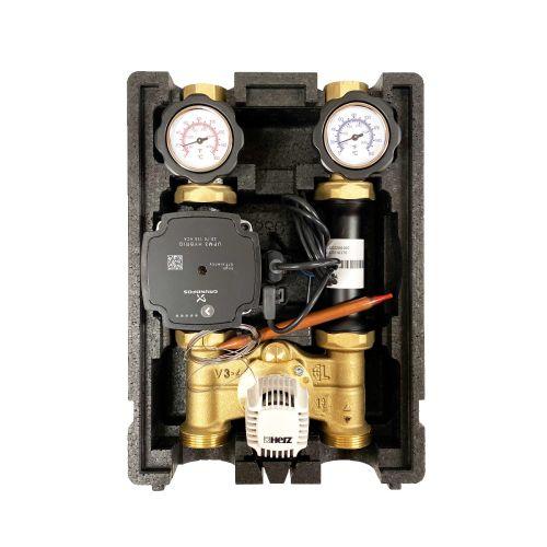HL002 | Heizkreispumpengruppe mit Drei-Wege-Mischer, Kapillar-Thermostatkopf 20-50°C nd GRUNDFOS UPM3 HYBRID 25/7 Hocheffizeinzpumpe