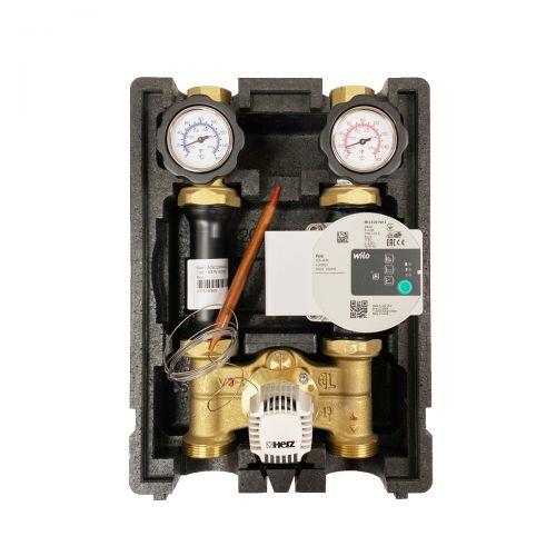 HR002 | Heizkreispumpengruppe mit Drei-Wege-Mischer, Kapillar-Thermostatkopf 20-50°C und Wilo Para 25/6 Hocheffizienzpumpe