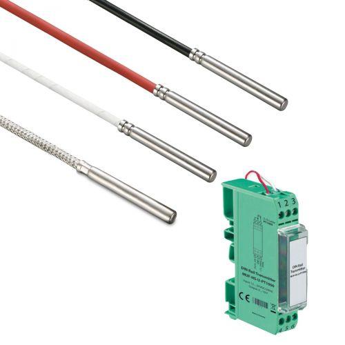 Norm- bzw. Hutschienen-Messumformer mit Kabelfühler Ø 5 mm (0‑10V/4‑20mA)