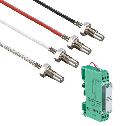 Norm- bzw. Hutschienen-Messumformer mit Einschrautemperaturfühler M6 Gewinde und 17 mm Einbaulänge (0‑10V/4‑20mA)