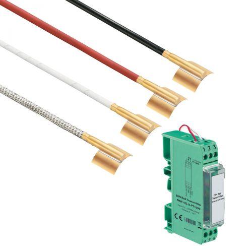Norm- bzw. Hutschienen-Messumformer mit Rohranlegefühler mit Messinghülse (0‑10V/4‑20mA)