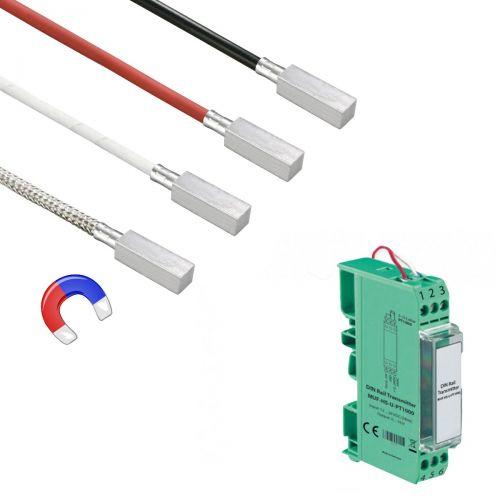 Norm- bzw. Hutschienen-Messumformer mit Anlegefühler mit magnetischem Anlegeklotz (0‑10V/4‑20mA)