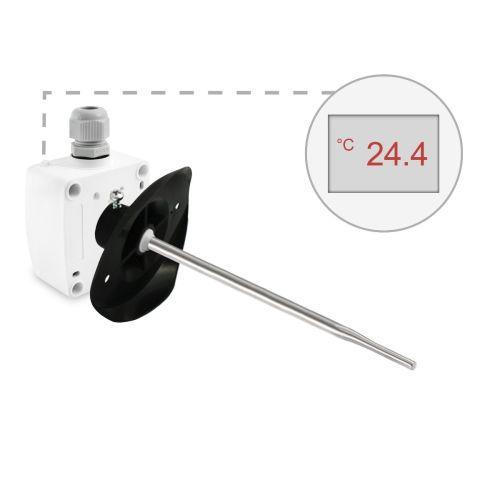 Kanaltemperaturfühler mit Montageflansch - schnellansprechend (0‑10V/4‑20mA)