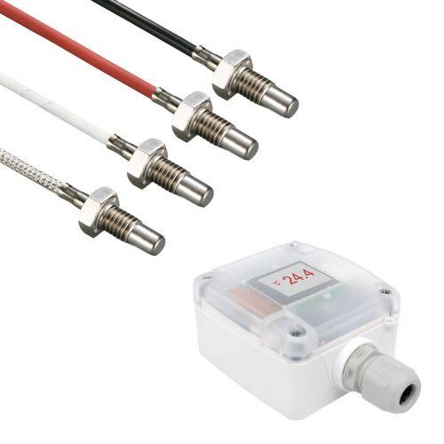 Messumformer mit Einschraubtemperaturfühler M8 Gewinde und 17mm Einbaulänge (0‑10V/4‑20mA)
