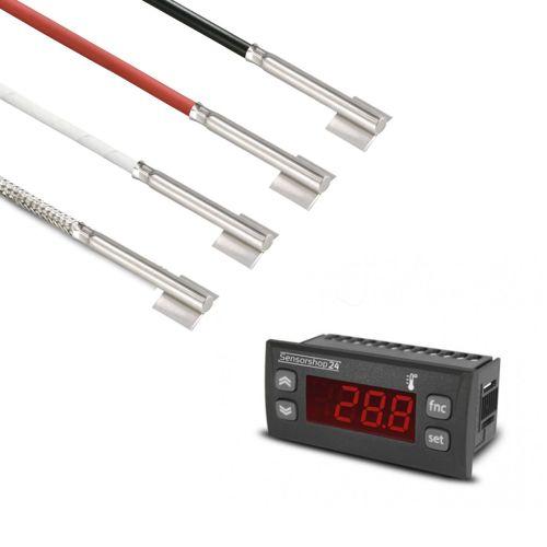 Elektronische Temperaturanzeige für PT100 inkl. Edelstahl-Rohranlegefühler