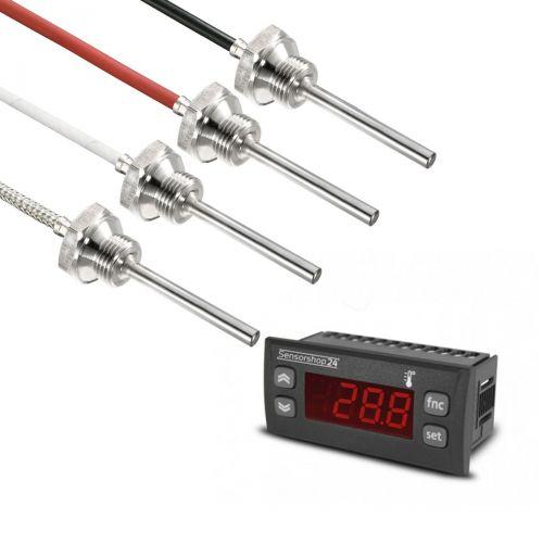 """Elektronische Temperaturanzeige für PT100 inkl. Einschraubfühler G1/2"""" Gewinde"""