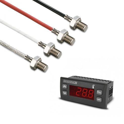 Elektronische Temperaturanzeige für PT100 inkl. Einschraubfühler M6x10