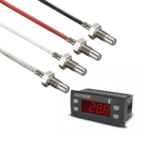 Elektronische Temperaturanzeige für PT100 inkl. Einschraubtemperaturfühler M8 Gewinde und 17 mm Einbaulänge