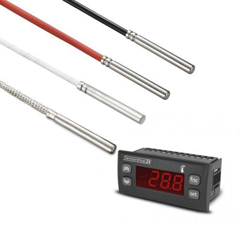 Elektronische Temperaturanzeige für PT100 inkl. Kabelfühler Ø 6 mm