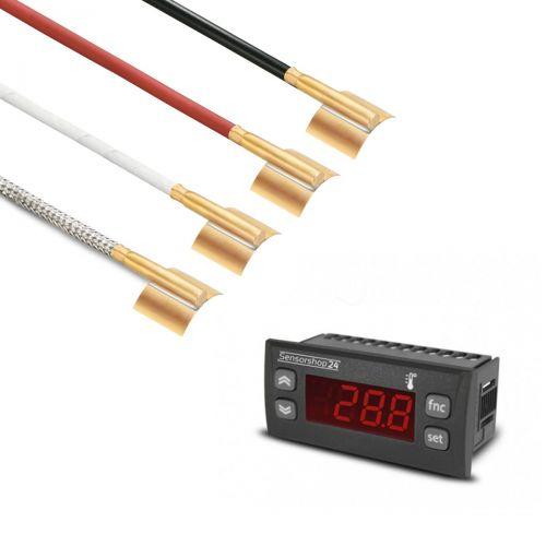 Elektronische Temperaturanzeige für PT100 inkl. Messing-Rohranlegefühler