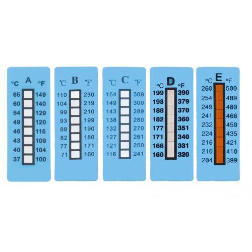 Temperaturmessstreifen mit 8 Messpunkten,  nicht reversibel (einmalige Verwendung), 10 Stück/Packung
