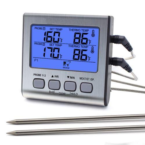 Digitales Lebensmittel-Thermometer mit Dual-Sonden
